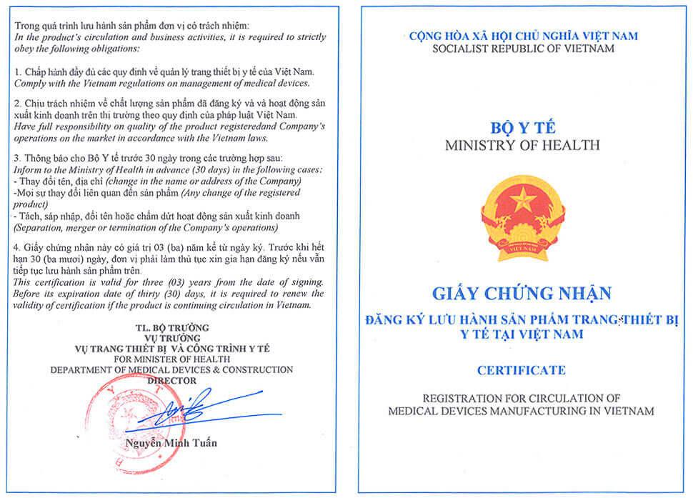 Giấy chứng nhận đăng ký lưu hành trang thiết bị y tế tại Việt Nam